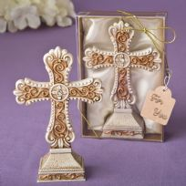 Antique Ivory Cross Statue With Gold Filigree Detailing